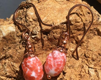 Vintage Tangerine and Cream Copper Earrings