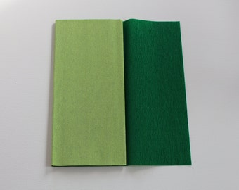 Gloria Doublette Crepe paper / Double sided crepe paper ideal for making paper flowers - Lime Green & Moss Green