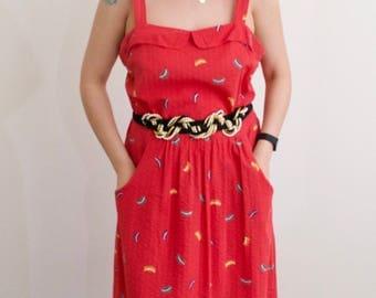 Vintage 80's Red Patterned Summer Dress
