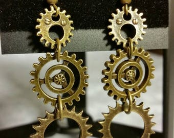 antique bronze steampunk earrings