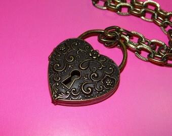 Magnetic Bronze Heart Locket Necklace - 16in
