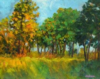 """Original Framed Oil Painting Pastoral Landscape """"Lately"""""""