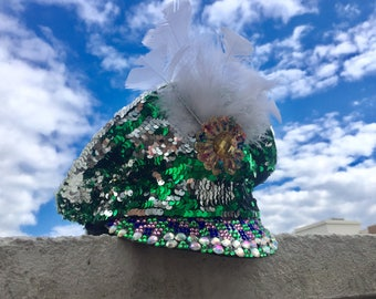 Green and Silver Mermaid Military Festival Hat / embellished sequin & feather bling cap, Burning Man, EDC, Glastonbury, disco headpiece