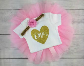 1st Birthday Outfit Girl One Tutu Outfit Cake Smash Shirt Gold Glitter Onesie Bodysuit Headband Photo Prop Long Sleeve Long Sleeves