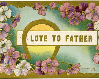Love to Father Vintage Embossed Postcard Purple White Flowers Horseshoe 1908