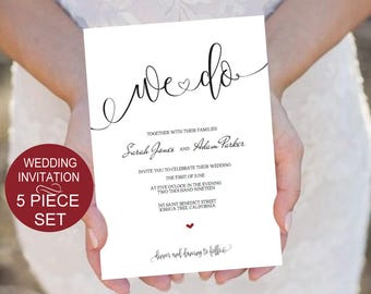 Wedding Invitation Suite Template Download 5 Piece Set - Black Burgundy Rustic Wedding Invitation-Pdf-Download Instantly | VRD139AWB