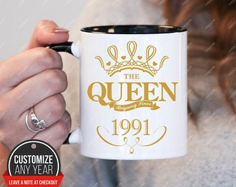 Queen since 1991, 27th birthday 27th birthday gifts for women, 1991 birthday gift, 27th birthday mug for mens, 27th birthday