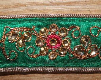 Green embroidered indian ribbon