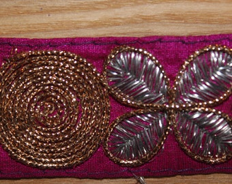 Pink embroidered indian ribbon