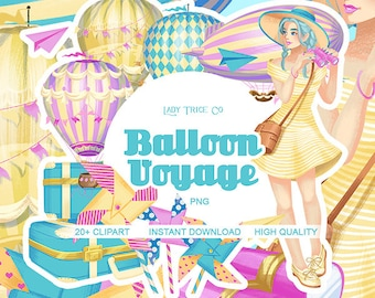 Balloon Voyage Clip Art Set