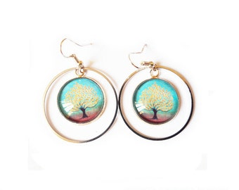 Tree of life gold and turquoise earrings