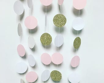White, pink, and gold circle garland