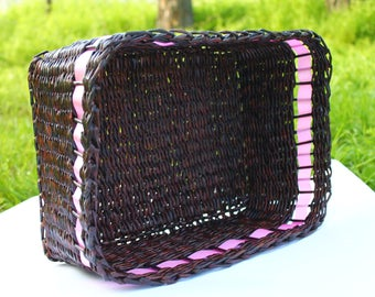 Square basket Wicker box from paper Storage basket Woven box Gift for her Willow basket Handwoven basket Farmhouse rustic Basket purse