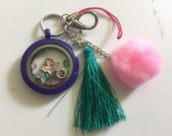 Disney The Little Mermaid Key Chain/Bag Tag- Floating Locket Charms