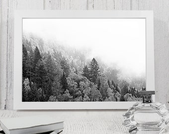 Landscape forest wall art, Minimalist forest print, fog and forest Poster, Printable Foggy Mountain Landscape print, forest wall art.