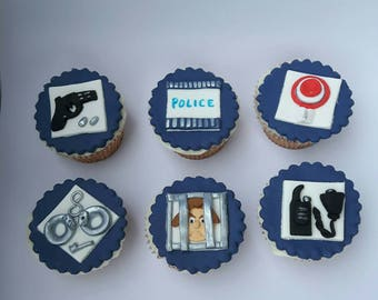 Police fondant cupcake toppers