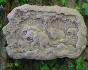 A-13 art sandstone antique look wall relief elephant elephant