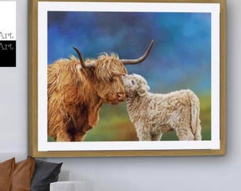 Highland Cow Print, Highland Cow, Highland Cow Art, Highland Cattle, Highland Calf, Cow& Calf (A Mothers Love)-Sell UK/USA