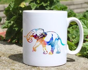 Elephant mug - Animal mug - Colorful printed mug - Tee mug - Coffee Mug - Gift Idea