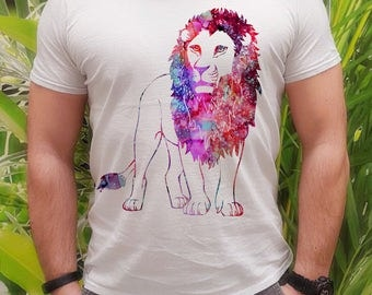 Lion t-shirt - Lion tee - Fashion men's apparel - Colorful printed tee - Gift Idea
