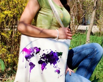 Map tote bag -  Map of the world shoulder bag - Fashion canvas bag - Colorful printed market bag - Gift Idea