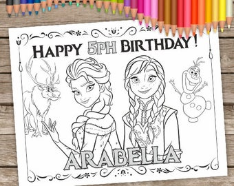 Frozen Coloring Birthday Party Pages Anna And Elza Kids Activity