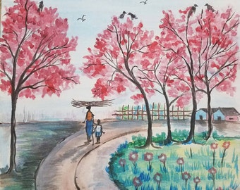 Cherry Blossom Trees, Spring Country House and Landscape Painting