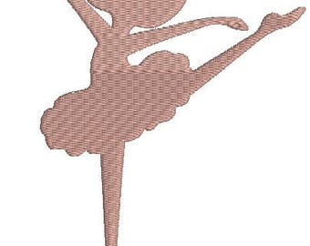 cute Ballerina Silhouette Embroidery Machine Embroidery Design, Instant Download