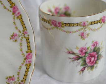Golden Crown E&R England Teacup and Saucer with Pink Flowers and Swags, English Cup and Saucer, Demitasse Cup and Saucer, Drum Shaped Cup