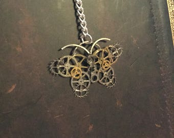 Steampunk mechanical butterflies necklace