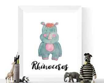 Rhino Printable   Rhinoceros Watercolor Printable   Rhinos   Watercolour    Safari Animal Art     Nursery Prints   Rhino Print