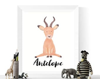 Antelope Print | Antelope Watercolor Printable | Antelopes | Watercolour |  Safari Animal Art | | Nursery Print | Antelope Art