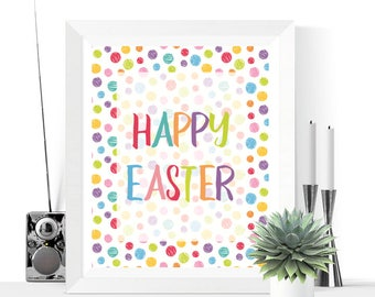 Happy Easter Polka Dots Printable Decoration  | Easter Decor | Easter Decorations | Easter Prints | Easter Printables