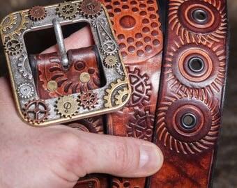 Steampunk Leather belt No. 3 Size: 75-116cm