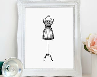 Wrought Iron Dress Form Art, Dress Form Print, Bedroom Print, Bedroom Decor, Vintage Décor, Digital Print, Instant Download, Printable Art
