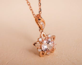 Morganite Pendant Rose Gold Flower Leaf Pink Morganite Gemstone Diamond Art Deco Woodland Anniversary Pendant Morganite Necklace