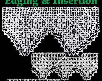Clover Diamonds Edging & Insertion Filet Crochet Pattern