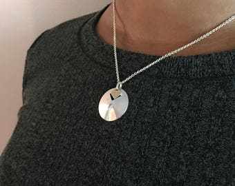Silver Circle Necklace, Sterling Silver and 14K Gold Dome Necklace, Geometric Necklace, Disc Necklace, Birthday Gift for Her, Unique Gifts