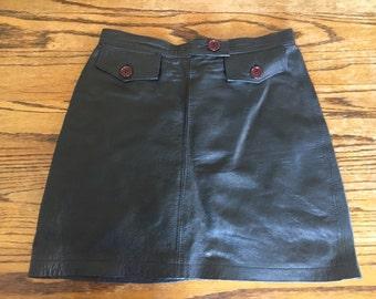 Vintage 80's A-line Leather Skirt