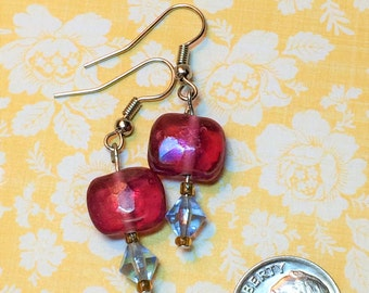 Cranberry and aqua colored glass bead earrings.