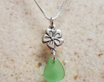 Dainty Sterling Silver Flower and Green Sea Glass Necklace- FREE SHIPPING!