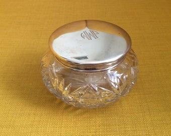 Antique Victorian Sterling Silver Dresser Jar / Cut Crystal / Jewelry Box / Trinket Jar / Receiver