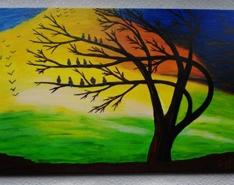 Acrylic box, tree at sunset