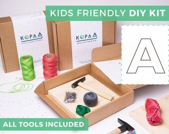 Kids friendly DIY ANY LETTER string art kit, kids craft kit, all tools included, cool gift for kids
