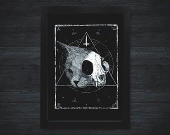 Cat Skull A3 Print