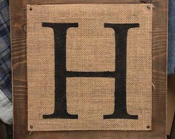 Handpainted Monogram on Burlap/Stained Wood