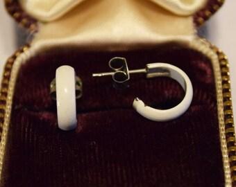 Vintage White Enamel Semicircle Stud Earrings
