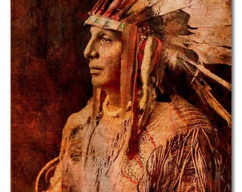 """Fine Art Print or Gallery Canvas Wrap of 'Cree Warrior'. Native American Indian. Available as Giclee print or 2"""" Canvas Wrap various sizes"""