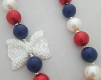 Bubblegum bead necklace, toddler necklace, 4th of July