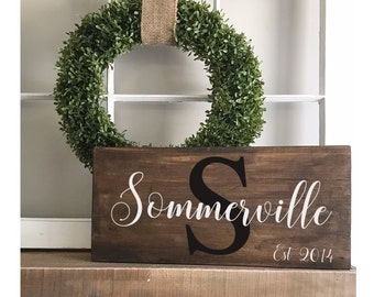 Personalized Last Name Sign - housewarming gift -wedding gift- rustic decor - Initial Sign - date established - welcome sign- last name sign